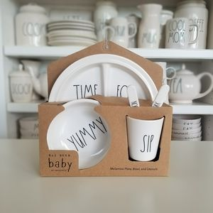 Rae Dunn TIME FOR SNACKS Bowl Utensils Baby Gift